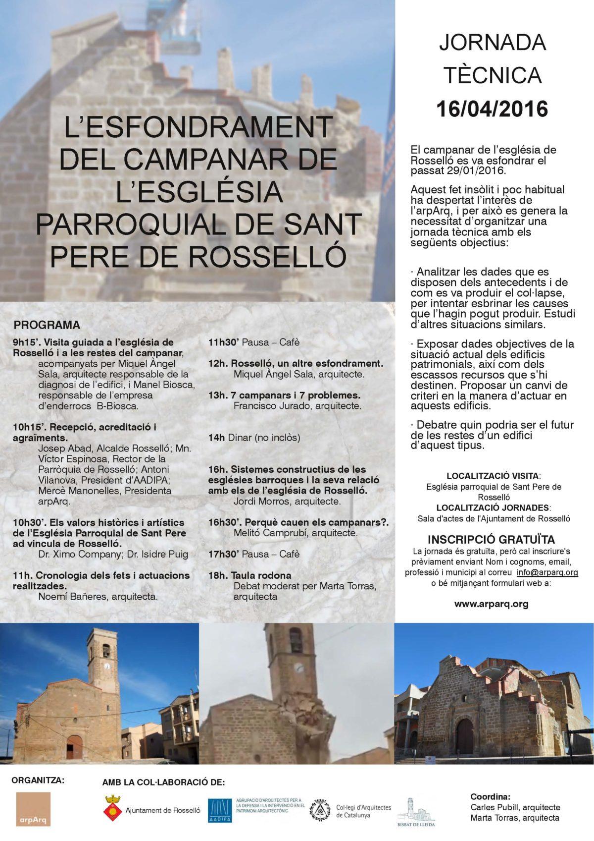 Jornada Tècnica: L'esfondrament del campanar de l'església parroquial de Sant Pere de Rosselló
